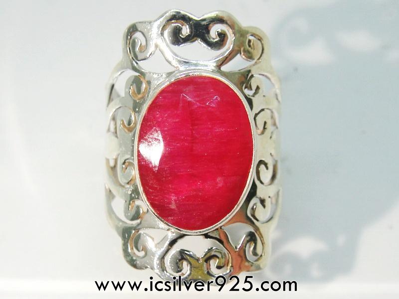 ▽ทับทิม Indian Ruby- แหวนเงินแท้ 925 (แหวนเบอร์ : 55 ,5.2g)