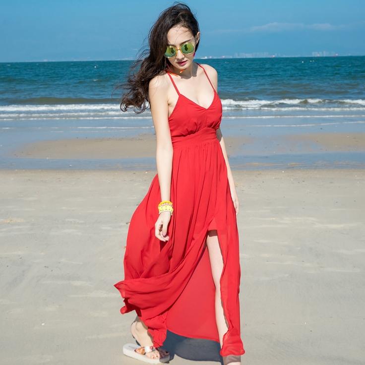 ชุดไปเที่ยวทะเล เดรสยาวสีแดง เปิดหลัง ผ้าชีฟอง ลุคสวยเก๋ ดูดี แอบเซ็กซี่เบาๆ