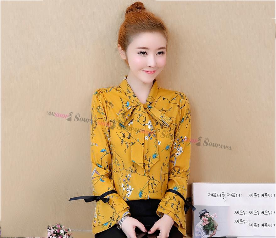 เสื้อเชิ้ตทำงานผู้หญิงสีเหลือง ลายดอกไม้ แขนยาว ผ้าชีฟอง : สินค้าพร้อมส่ง
