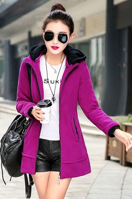 (สินค้าหมด) เสื้อกันหนาวผู้หญิงแฟชั่นเกาหลี สีชมพูอมม่วง ตัวยาว ซิบหน้า แต่งตัดด้วยสีดำ มีฮูท จั๊มปลายแขน