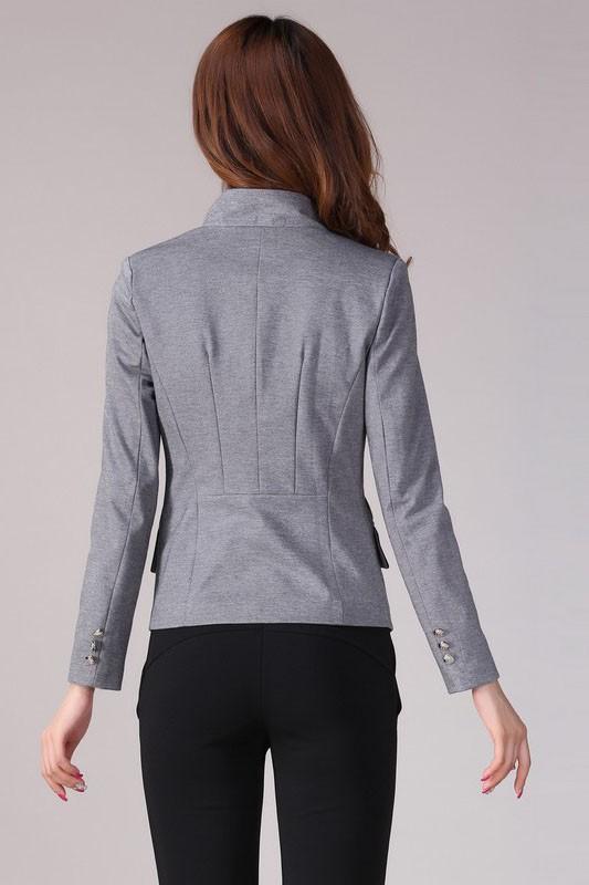 เสื้อสูทแฟชั่น เสื้อสูทผู้หญิง สีเทา แขนยาว แต่งขลิบสีดำ