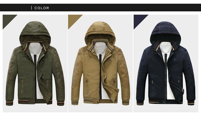 เสื้อกันหนาวผู้ชาย เสื้อแจ็คเก็ตผู้ชายมีฮู้ด สีกากี คอปีน ซับขนสัตว์ เท่ๆ จั้มข้อมือ และเอว
