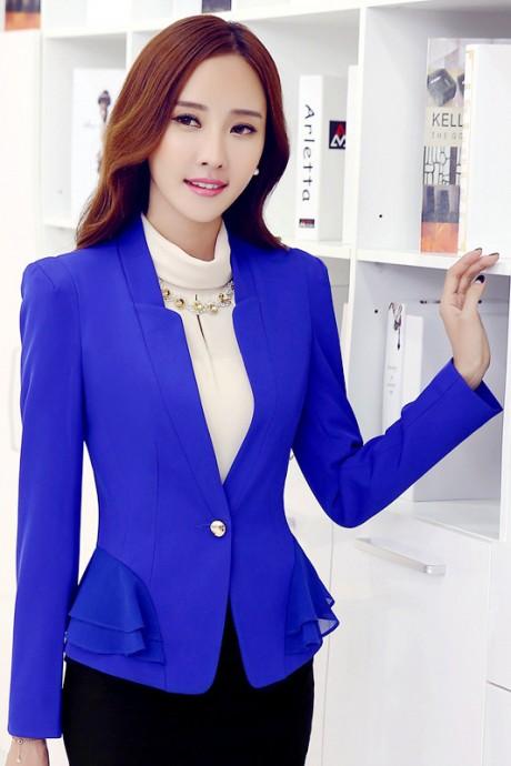 (สินค้าหมด) เสื้อสูทแฟชั่น เสื้อสูทผู้หญิง สีน้ำเงิน แขนยาว แต่งระบายด้วยผ้าชีฟองด้านข้าง