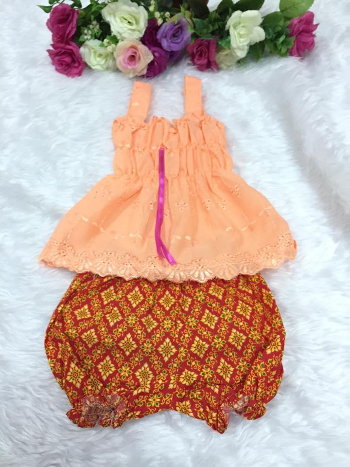 ชุดไทยเด็กหญิง-สีส้ม