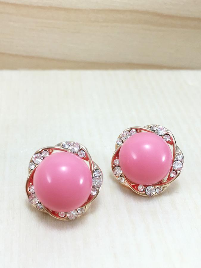 Pink Bloom Earring ต่างหูแฟชั่นเกาหลี ตุ้มหูดอกไม้ เกสรมุกสีชมพู พร้อมส่งค่ะ