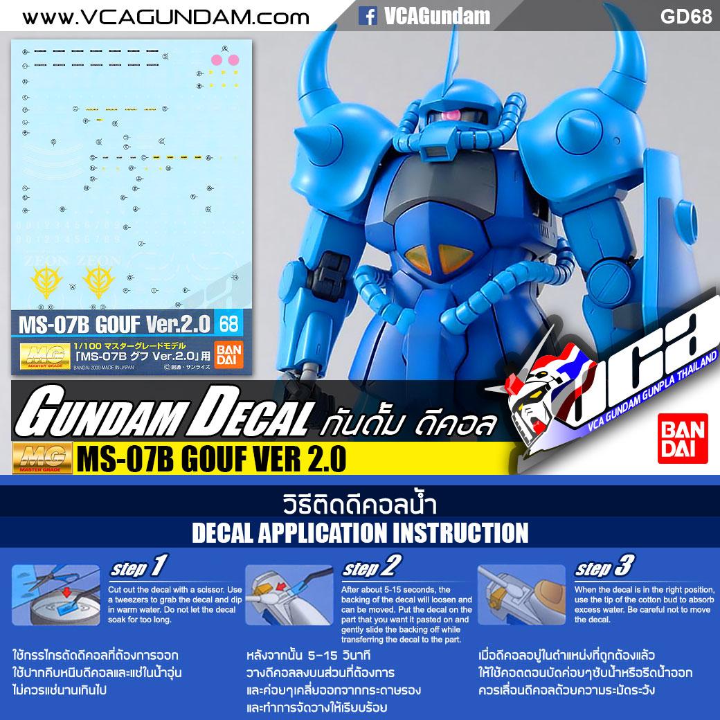 GD68 Gundam Decal GUNPLA MG Master Grade MS-07B Gouf ver 2.0 BANDAI