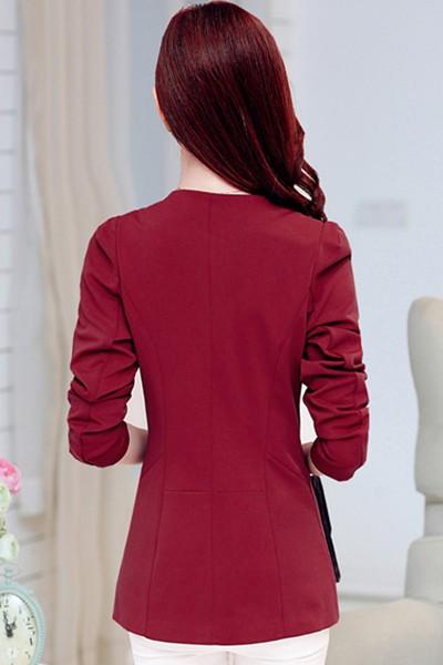 เสื้อสูทแฟชั่น เสื้อสูทผู้หญิง สีแดง แขนยาว คอจีน ตัวยาวคลุมสะโพก กระดุมเม็ดเดียว