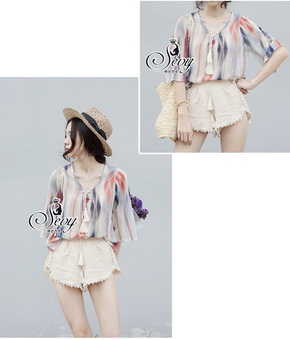 SV06310816 &#x1F389Sevy Two Pieces Of Panting Blouse Chiffon With Shorts Sets