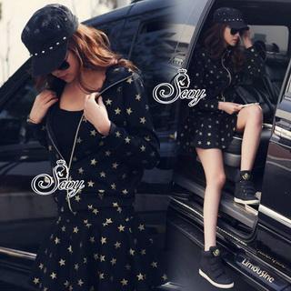 SV09310816 &#x1F389Sevy Star Hip Hop Jacket With Mini Skirt Sets Type: Jacket+Skirt