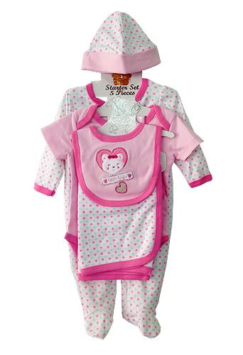 **Nannette** WT535 Size 0/3, 3/6, 6/9m เสื้อผ้าเด็กขายส่ง ชุดเซ็ต 5 ชิ้น ในแพคมี ชุดหมีแขนยาว, บอดี้สูทแขนสั้น, ผ้าห่ม, ผ้ากันเปื้อน และ หมวก ครบชุดค่ะ