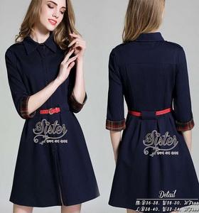 เสื้อผ้าแฟชั่นเกาหลีเดรสลุคเรียบหรู เนื้อผ้าโพลีเกรดดี