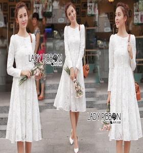 Dress เดรสผ้าลูกไม้สีขาวไสตล์คลาสสิก