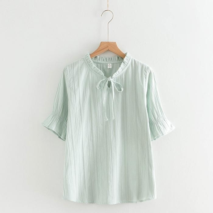 เสื้อเบลาส์แขนสั้น คอเสื้อเย็บจีบ (มีให้เลือก 2 สี 2 ไซส์)