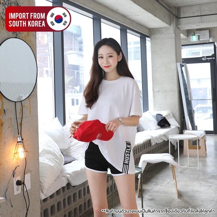 [PRE-KOREA] เสื้อยืดแขนสั้น ชายเสื้อแต่งแถบ (มีให้เลือก 3 สี)