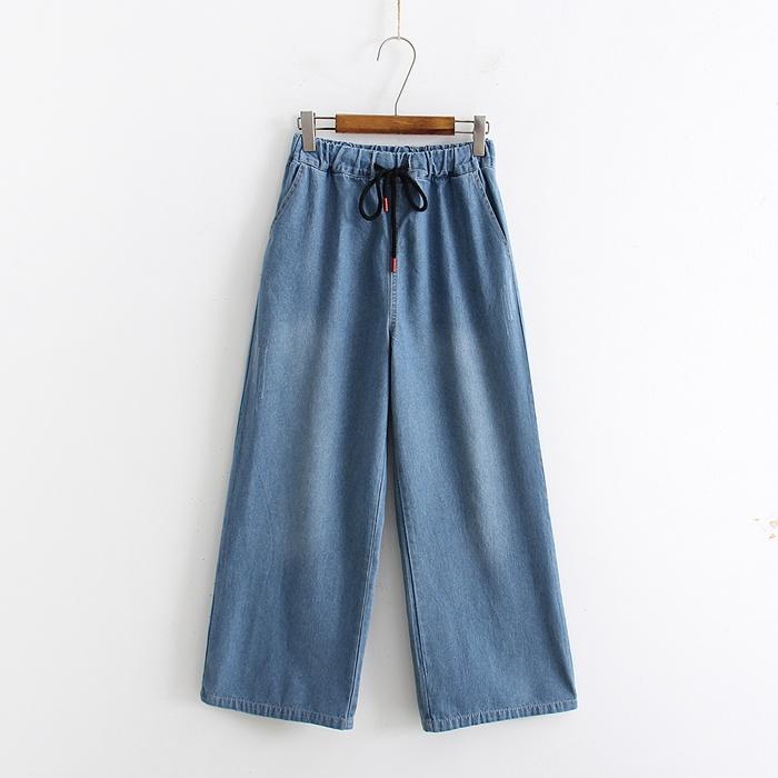 กางเกงยีนส์ขายาวเอวยืด (มีให้เลือก 2 สี 3 ไซส์)