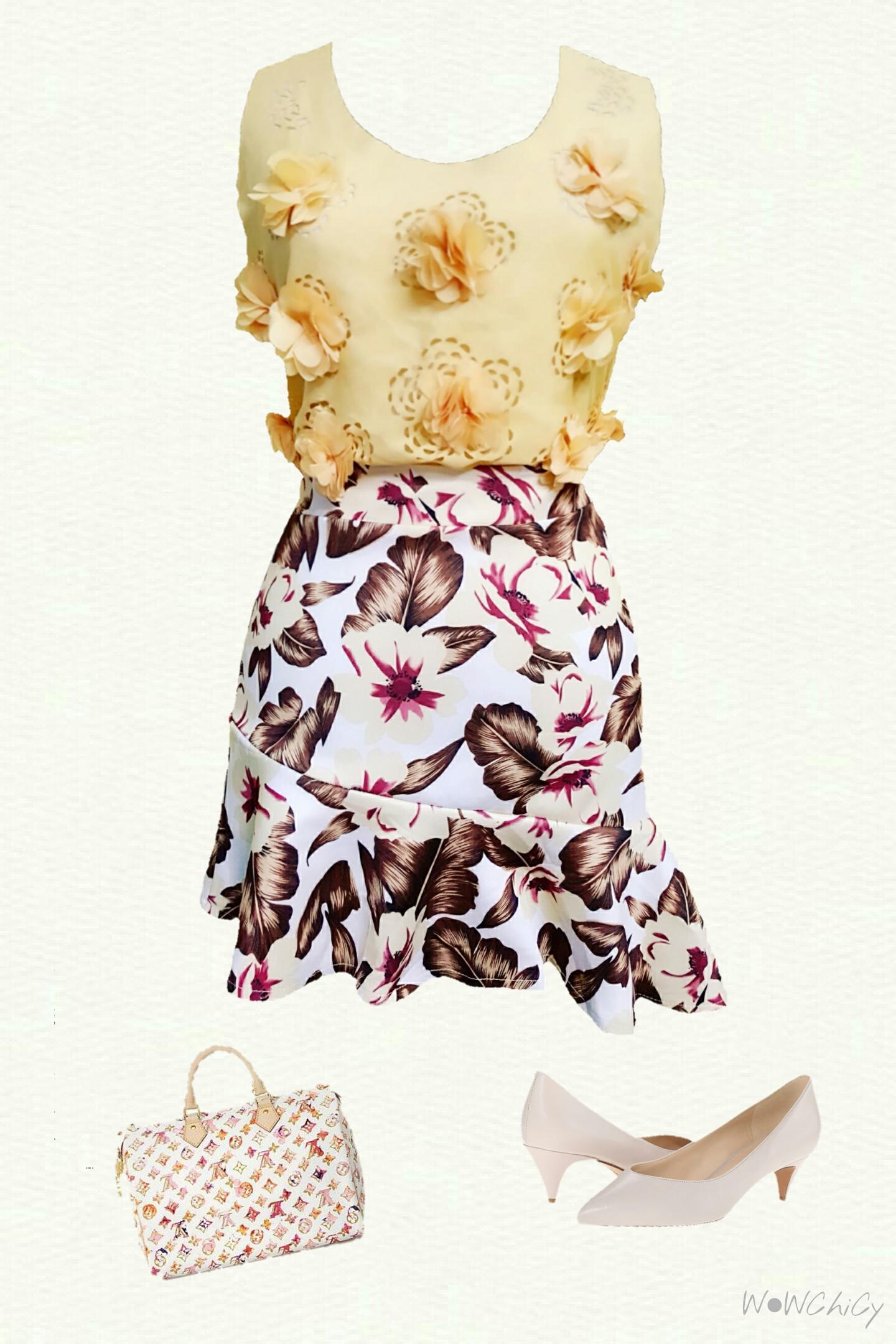 เซ็ตเสื้อผ้าชีฟองแต่งกรีบและปรุลายดอกไม้และกระโปรงผ้ายืดหนานิ่มพิมพ์ลายดอกไม้ สองตัวนี้ใส่เข้าเซ็ตกันสุดๆค่ะ ตัวเสื้อเป็นผ้าชีฟองแต่งลายดอกไม้สไตล์วินเทจ มีซิบข้างใส่ง่าย เป็นทรงหลวมๆไม่รัด มาพร้อมกับกระโปรงผ้ายืดหนานิ่มไม่บาง เอวสม็อคหลัง พิมพ์ลายดอกไม้