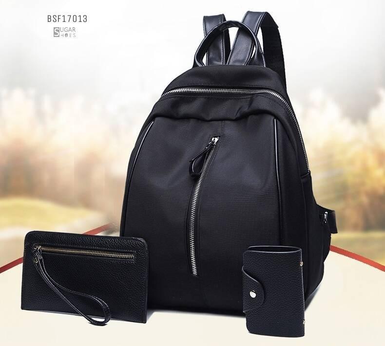 พร้อมส่ง กระเป๋าเป้ไนล่อนเซ็ทBSF17013 [สีดำ]