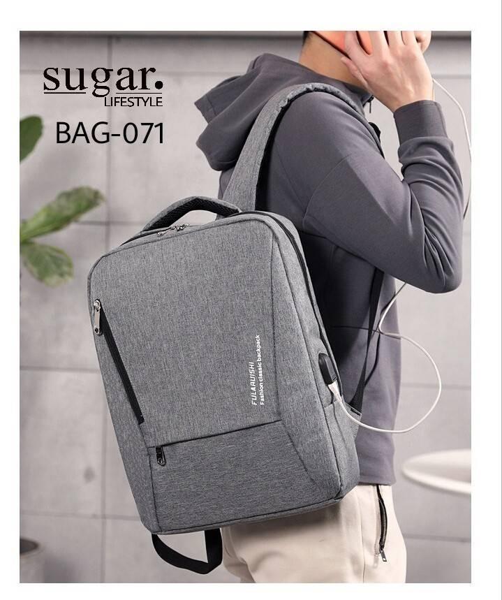 แบบมาใหม่ กระเป๋าเป้ผู้ชาย ดีไซน์สุดเท่ห์ BAG-071-เทา (สีเทา)