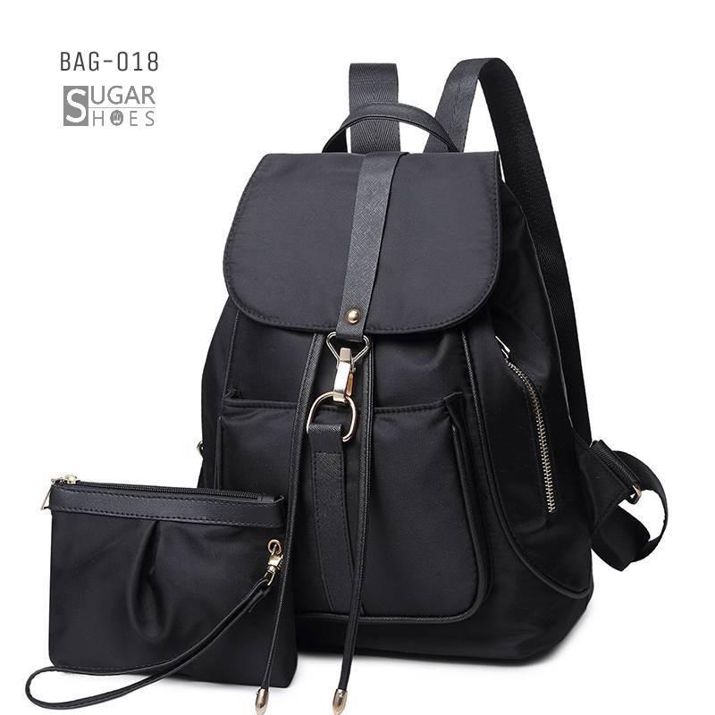 พร้อมส่ง กระเป๋าเป้ผ้าไนล่อนเซ็ทสองใบ-BAG-018 [สีดำ]