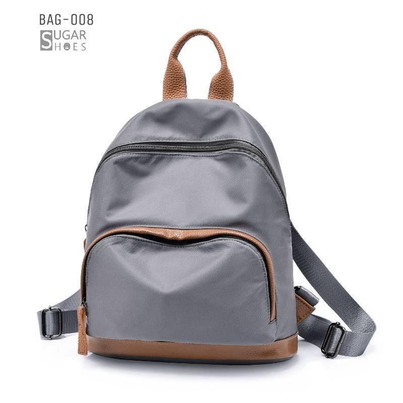 พร้อมส่ง กระเป๋าเป้ผ้าไนล่อนผู้หญิง-BAG-008 [สีเทา]