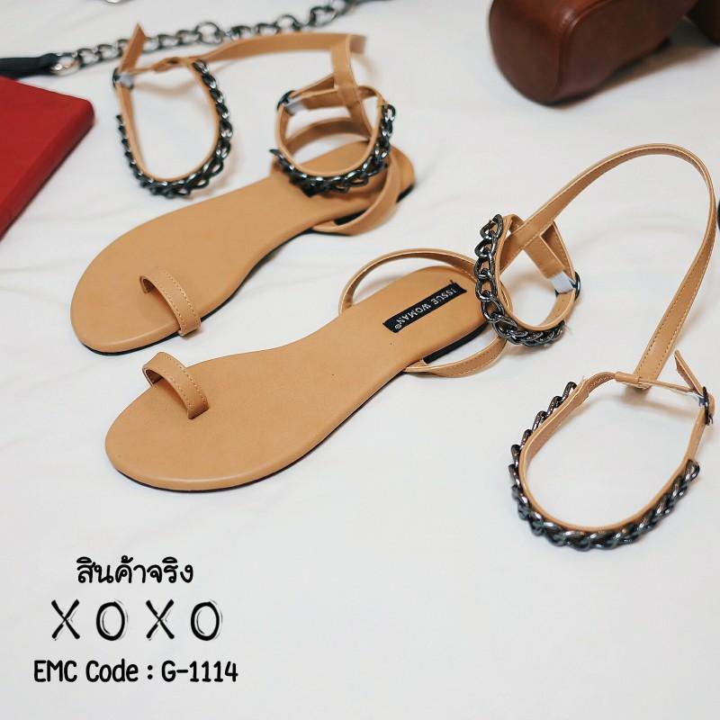 พร้อมส่ง รองเท้าส้นเตี้ย โซ่ยาว G-1114-BWN [สีน้ำตาล]