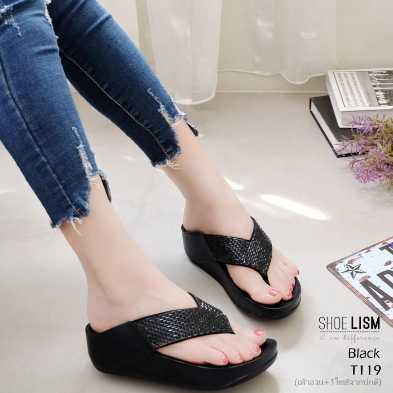 รองเท้าเพื่อสุขภาพสีดำ สไตล์ฟิทฟลอบ ชนชอป รุ่นคริสตัล LB-T119-ดำ