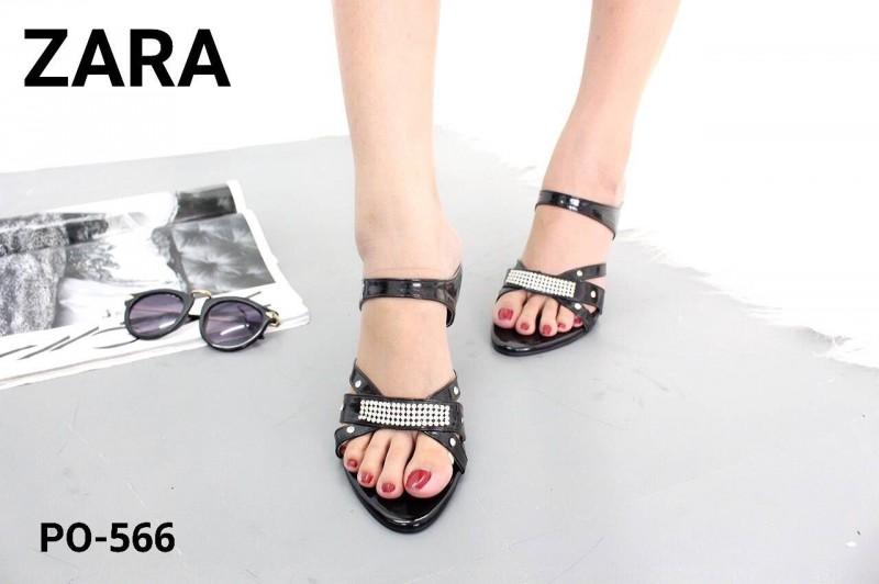 พร้อมส่ง รองเท้าส้นเข็มเปิดส้นสีดำ แต่งหน้าเพชร สไตล์ ZARA แฟชั่นเกาหลี [สีดำ ]