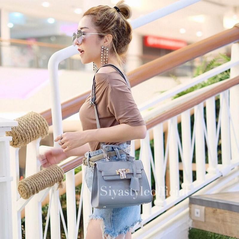 กระเป๋าสะพายแฟชั่น กระเป๋าสะพายข้างผู้หญิง Mini Kelly Pu [สีเทา]