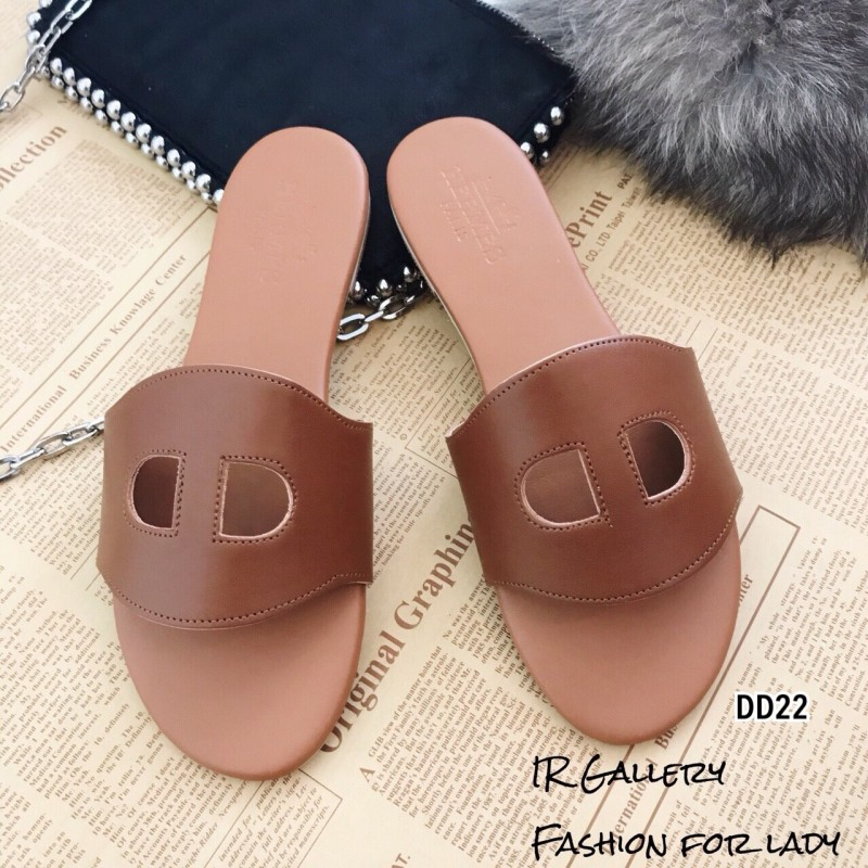 รองเท้าแตะหนัง Style Brand Herme DD22-ตาล (สีน้ำตาล)