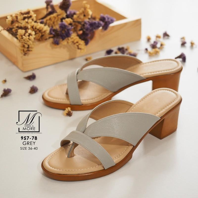 พร้อมส่ง รองเท้าส้นตันสีเทา แบบคีบ เก็บเท้า match ง่ายกับทุกชุด แฟชั่นเกาหลี [สีเทา ]