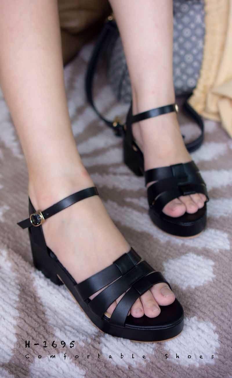 พร้อมส่ง รองเท้าส้นเตารีดแฟชั่น H1695-BLK [สีดำ]