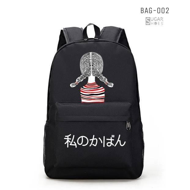 พร้อมส่ง กระเป๋าเป้ผ้าแคนวาสพิมลาย-BAG-002 [สีดำ/แดง]