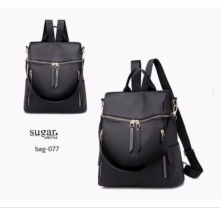 กระเป๋าเป้ผู้หญิงสะพายแบบน่ารัก สะพายได้หลายแบบ BAG-077-ดำ (สีดำ)