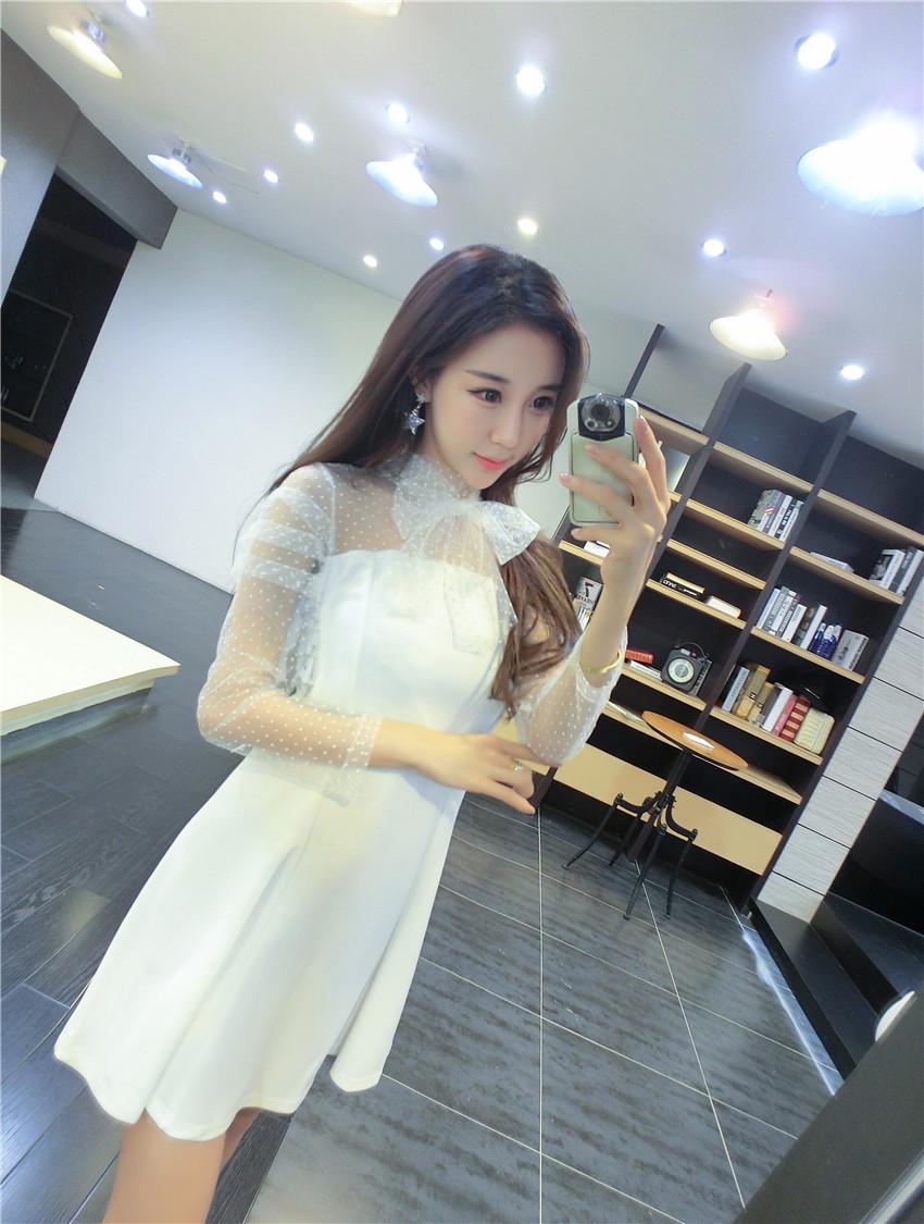 ชุดเดรสแฟชั่นเกาหลีสีดำแขนยาวตาข่าย