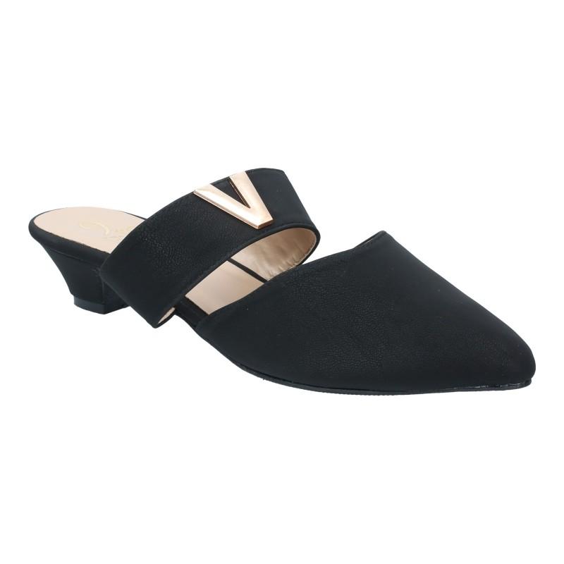 รองเท้าลำลอง ส้นเตี้ย หัวแหลมเปิดส้น (สีดำ )