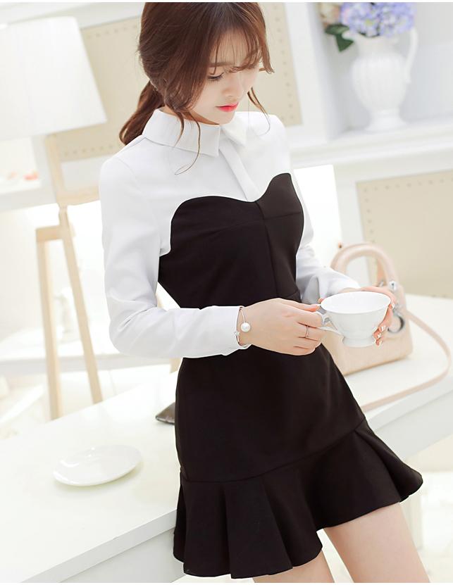 ชุดเดรสทำงานสีดำแขนยาวสีขาวกระโปรงบานน่ารักๆ