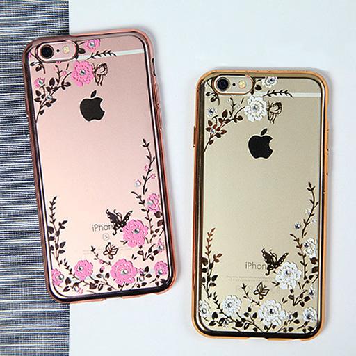 เคสใส ลายดอกไม้ มีเพชร - เคส iPhone 5/5S/SE