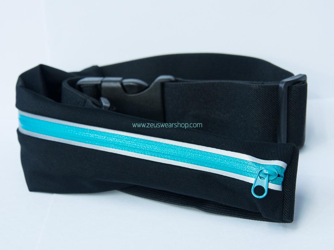 กระเป๋าคาดเอววิ่ง 1 ซิป สีฟ้า กระเป๋าเคลือบกันน้ำอย่างดี