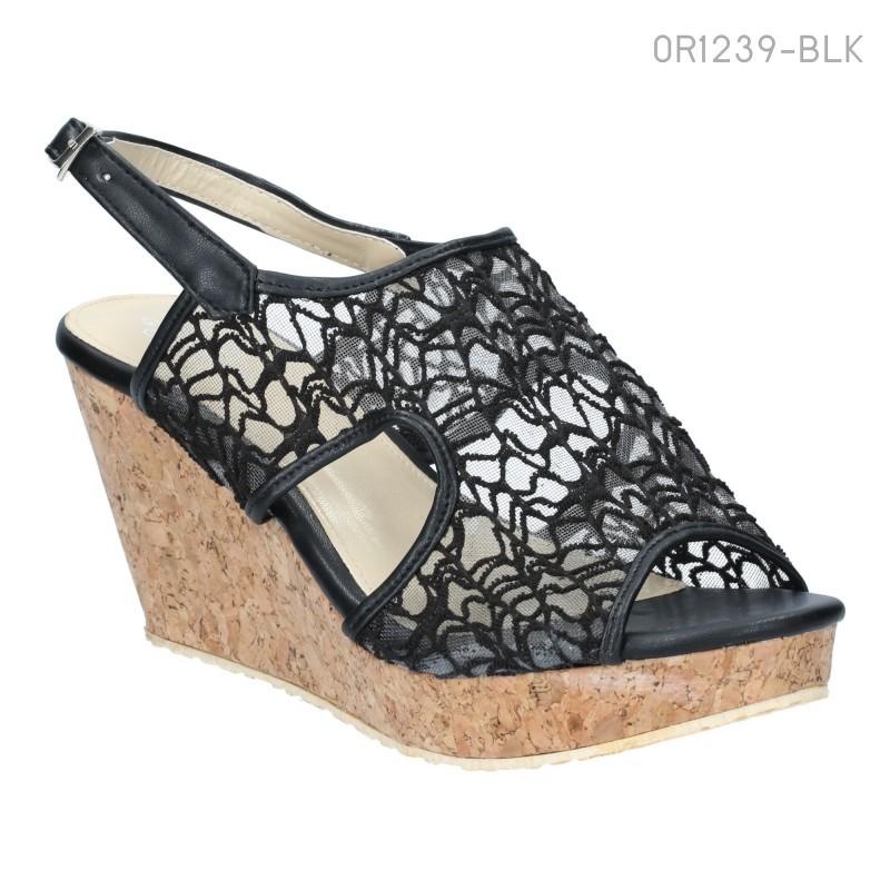 รองเท้าส้นเตารีด รัดส้น ผ้าลูกไม้ มีซิป (สีดำ )