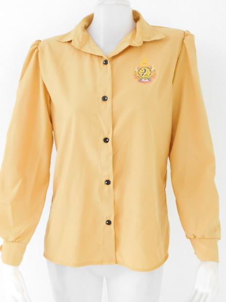 ขายส่งเสื้อผ้าแฟชั่น เสื้อเหลืองแขนยาว รอบอก 38 นิ้ว