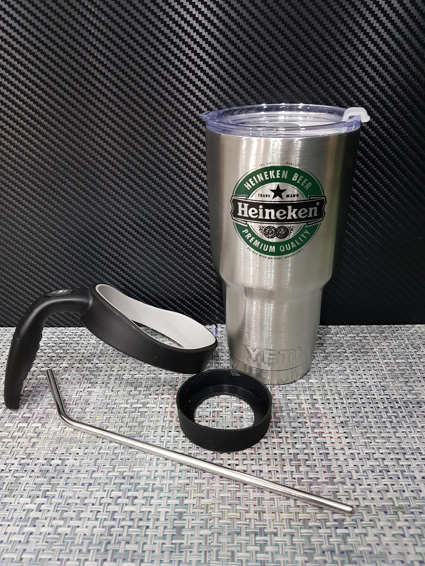 ชุดแก้วเยติ 30 ออนซ์ พื้นสีเงิน โลโก้ Heineken สีเขียวเข้มสลับดำ