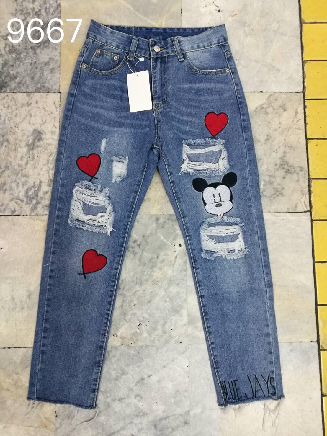 กางเกงยีนส์ทรงบอย ปักรูปหัวใจ ลายมิกกี้
