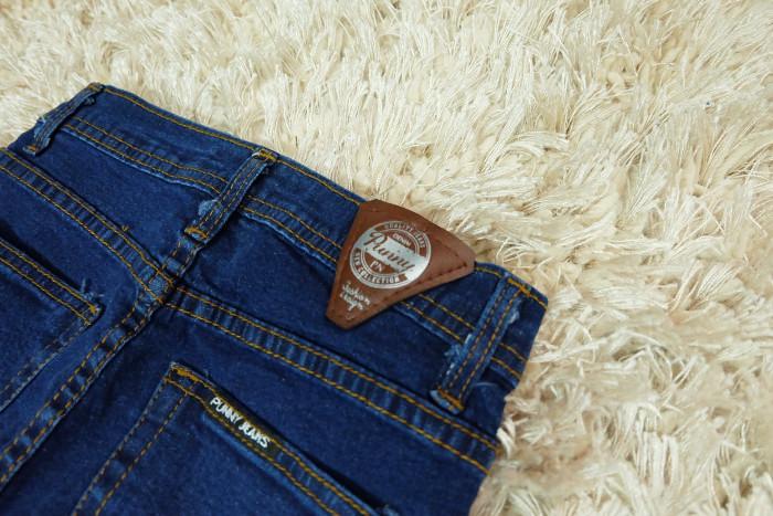 Punny jeans กางเกงยีนส์ผู้หญิง ขาเดฟ ผ้ายืด เอวสูง สีน้ำเงิน
