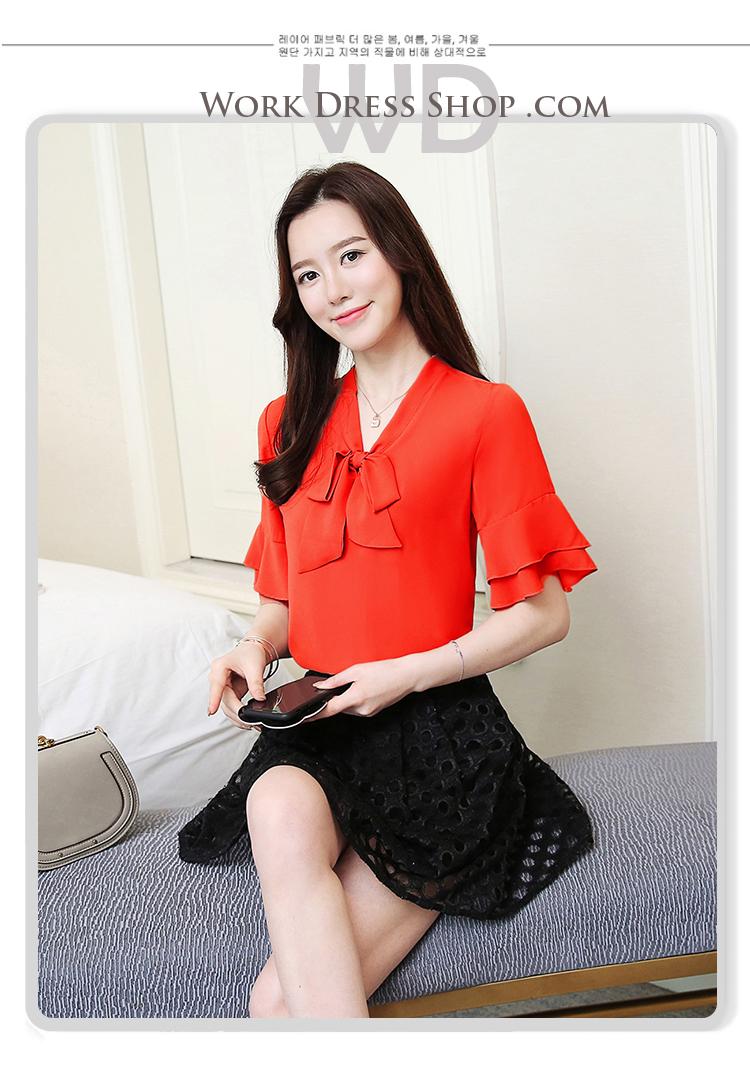 Preorder เสื้อทำงาน สีแดง คอผูกโบว์ แขนแต่งระบายสองชั้นสวยหรู