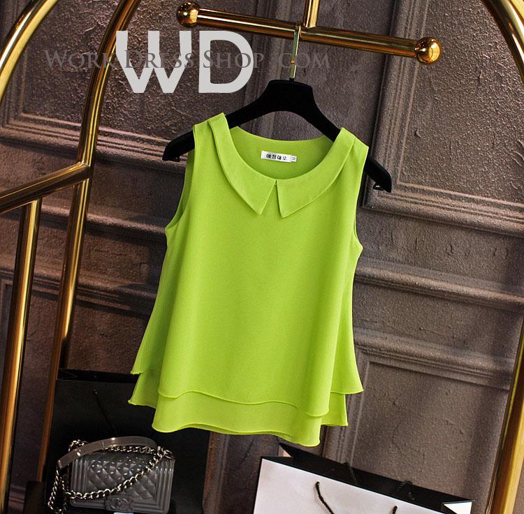 Pre-order เสื้อทำงาน สีเขียว คอกลมมีปก แขนกุด แต่งระบายชายเสื้อสองชั้น สวยหวานสุดๆ