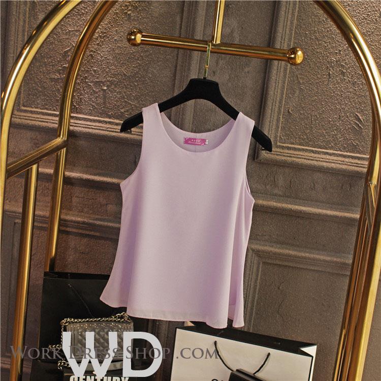 Pre-order เสื้อทำงาน สีชมพูอ่อน เสื้อคอกลมแขนกุด เนื้อผ้าซีฟองอย่างดีพร้อมซับใน ใส่ด้านในสูทก็สวยเก๋