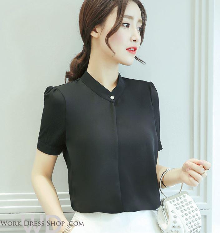 Preorder เสื้อทำงาน สีดำ แต่งคอป้ายติดกระดุมเก๋ๆ แขนสั้น เนื้อผ้าระบายอากาศได้ดี