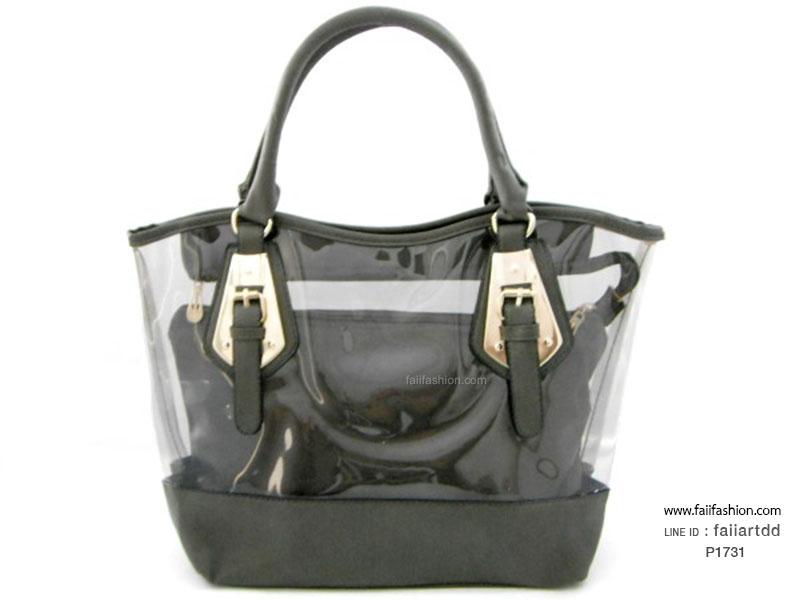 กระเป๋าเนื้อพลาสติกสีใส ตัดเย็บหนังPUนิ่ม กระเป๋าใบเล็กด้านในแยกออกมาได้