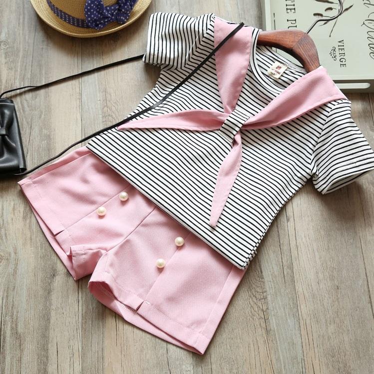 ชุดเซตเสื้อลายขวาง+กางเกงขาสั้นสีชมพู แพ็ค 3 ชุด [size 2y-4y-5y]