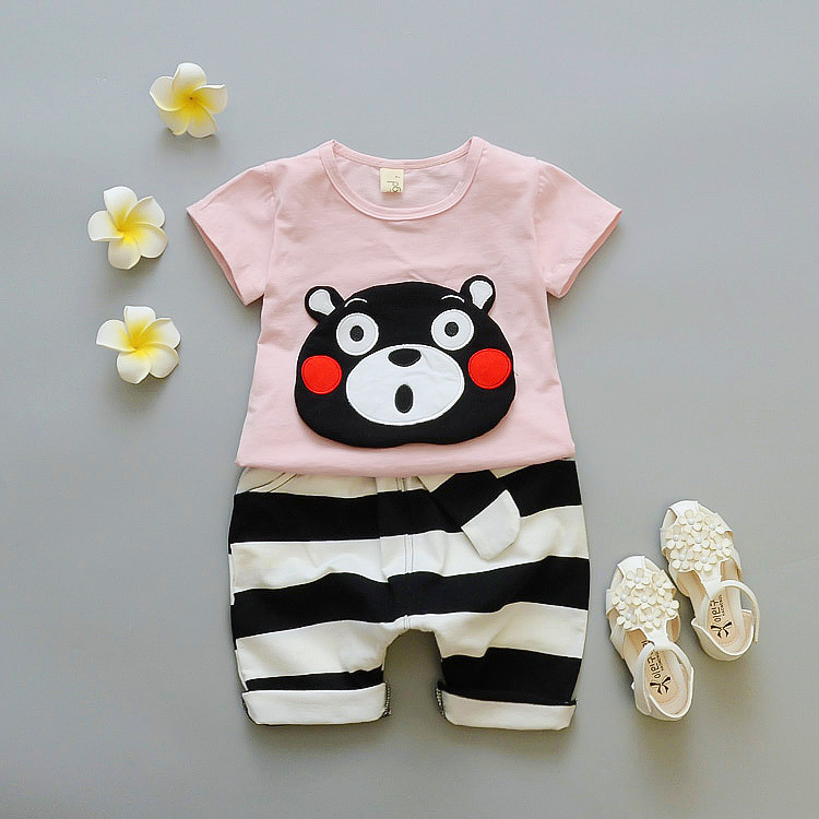 ชุดเซตลายหมีคุมะสีชมพูอ่อน แพ็ค 4 ชุด [size 6m-1y-2y-3y]